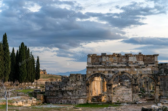 Ruins of the Domitian gates in ancient city of Hierapolis in Turkey