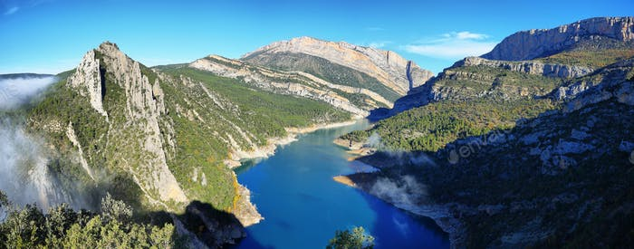 Spectacular cliff and reservoir in Montrebei Catalonia