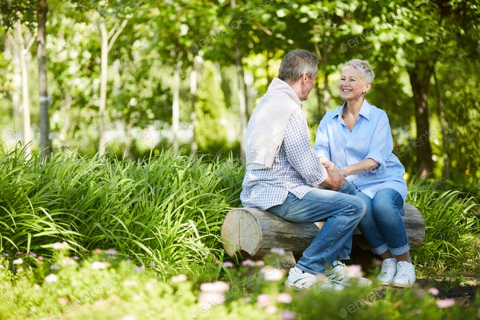 Seniorenpaar genießen date in park