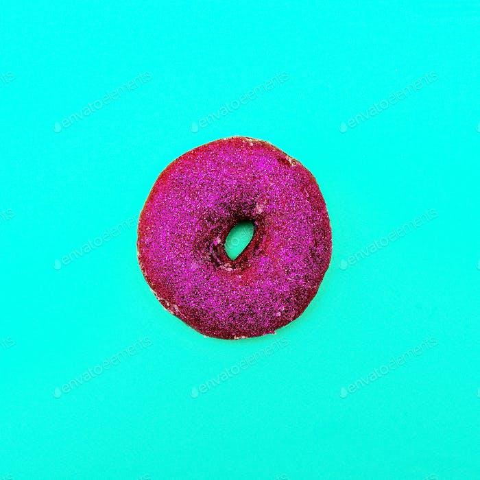 Fashion Donut in glitter Minimal Art Still Life Details