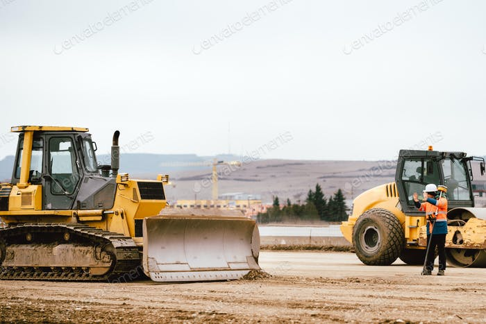 Industrial heavy duty machinery, details of excavator and engineer building highway