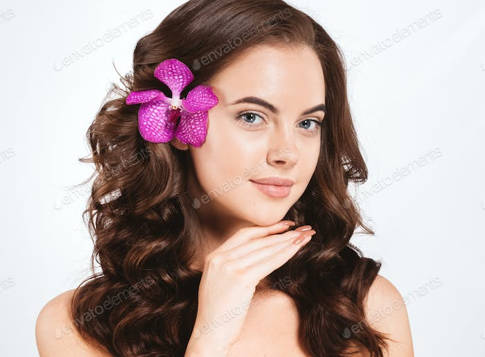 Hair flower woman beautiful curly hairstyle natural make up female