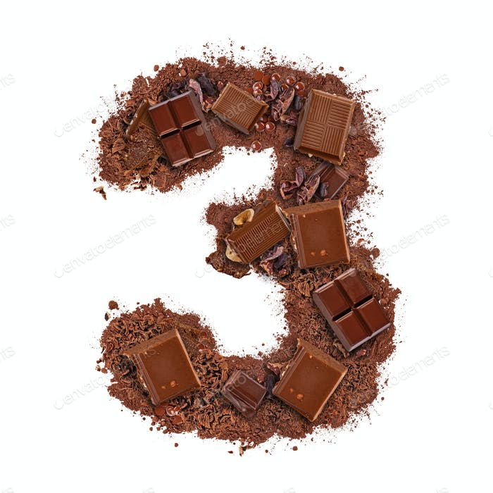 Number 3 made of chocolate bar