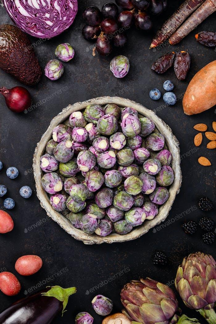 Purple food on dark background