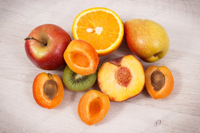 Fresh natural fruits containing nutritious vitamins for healthy lifestyles