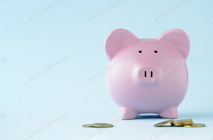 Pink piggy face on over a blue background