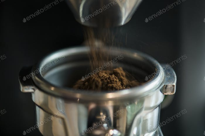 Thumbnail for Closeup of fresh grinding coffee