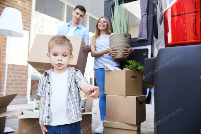 Little Boy Moving to New House