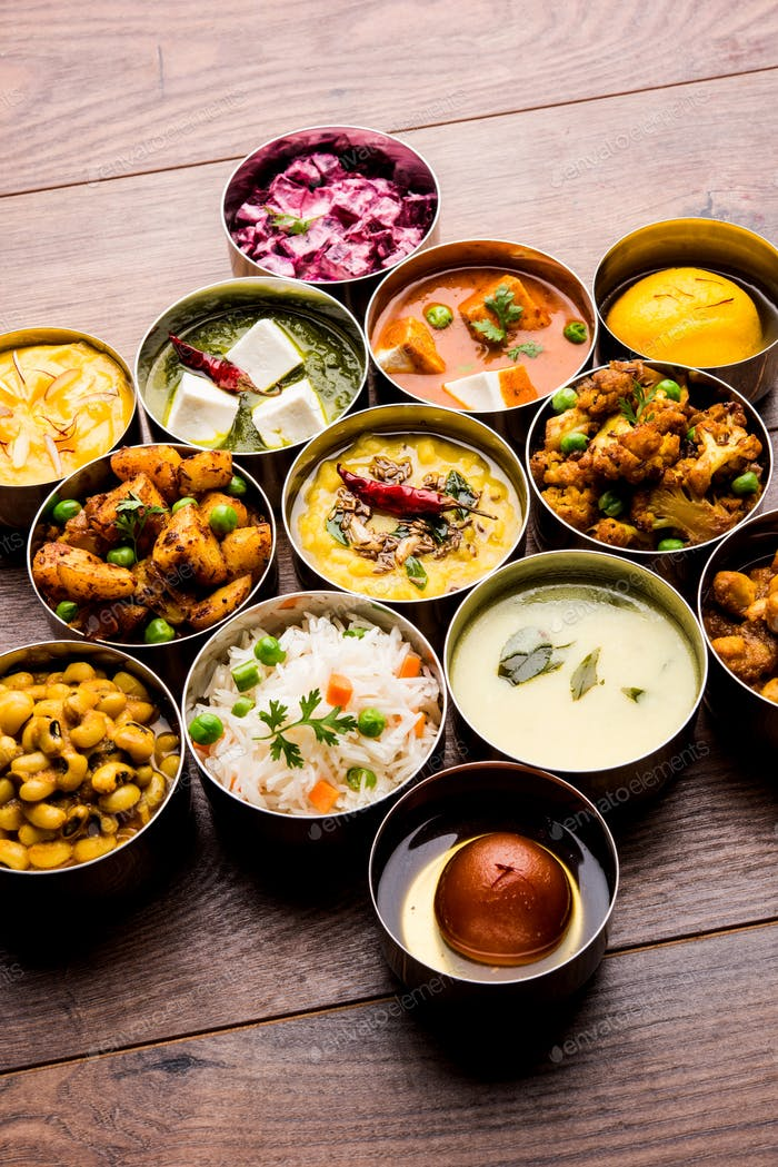 Assorted Indian Food in Bowls