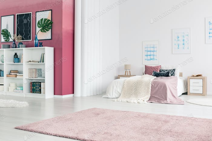 Pink living room interior