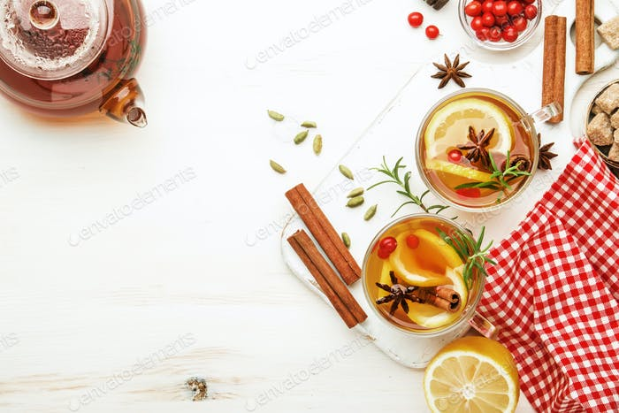 Winter autumn warming hot tea with lemon