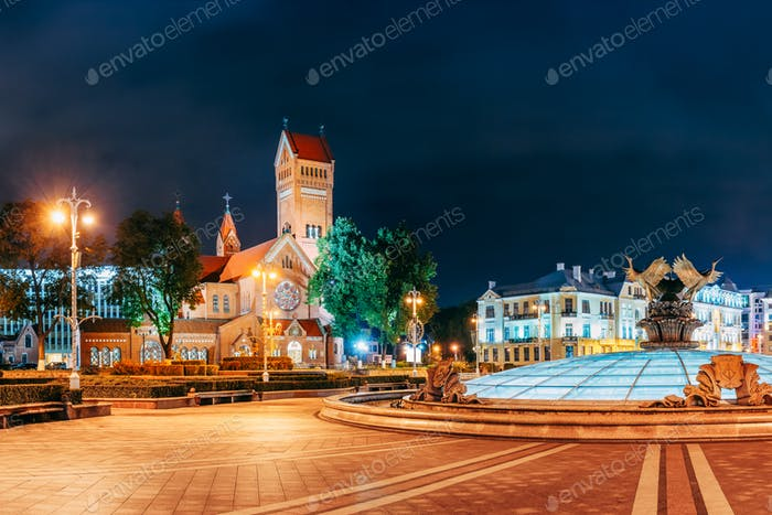 Minsk, Belarus. Night View Church Of Saints Simon And Helen Or R