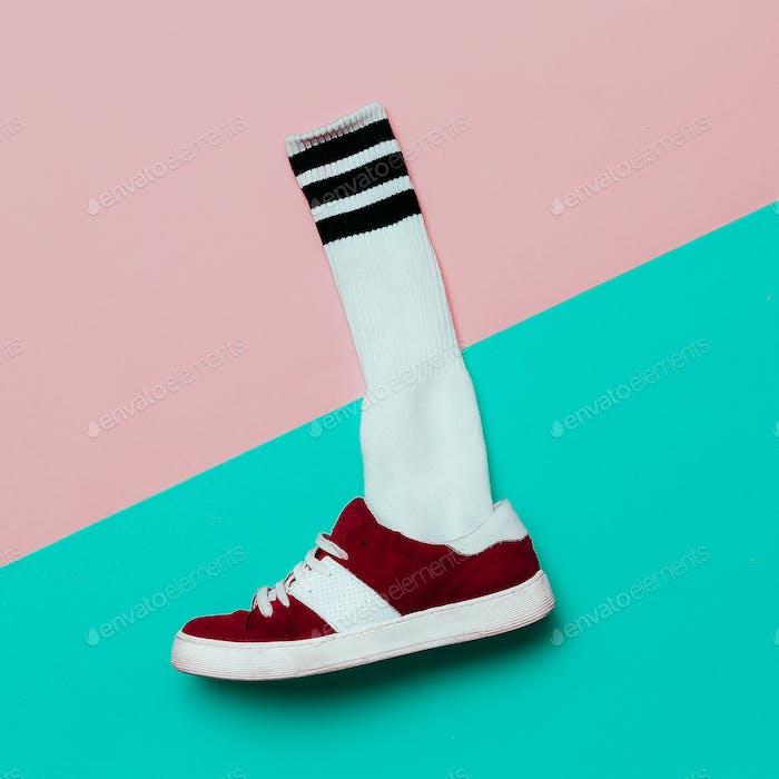 Flat lay fashion set: Fashion skateboard shoes and fashion socks