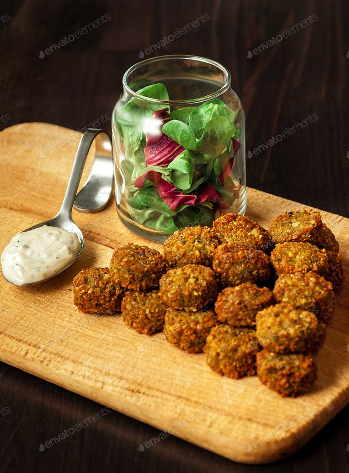 fresh vegetarian falafel  with sauce, selective focus