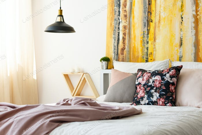 Bedroom with earthy color palette