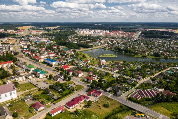 Top view of the city of Ostrovets in summer, Grodno region, different panoramas of the city.Belarus