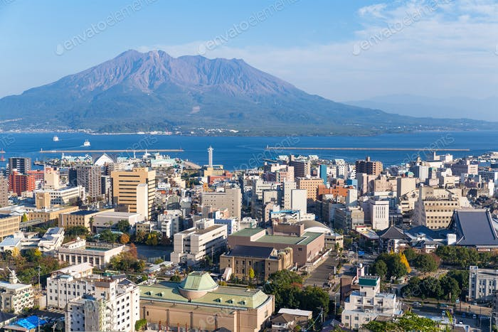 Japan city skyline with Sakurajima Volcano