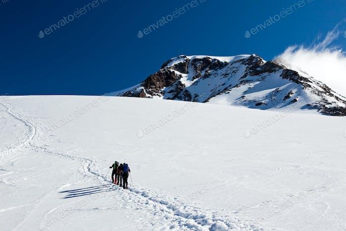 Mountaineers walking on Monte Rosa Glacier