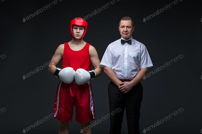 Referee and boxing sportsman