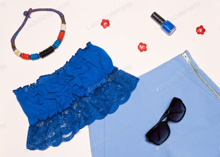 Trendy summer women outfit in blue