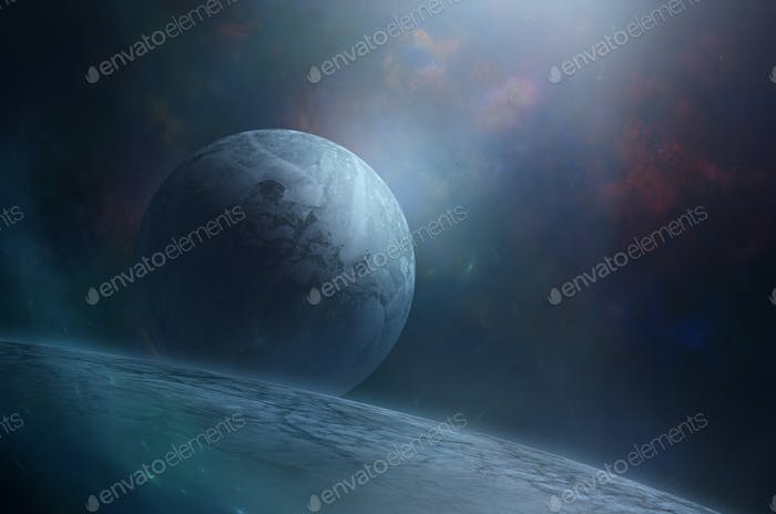 Blue moon over giant planet