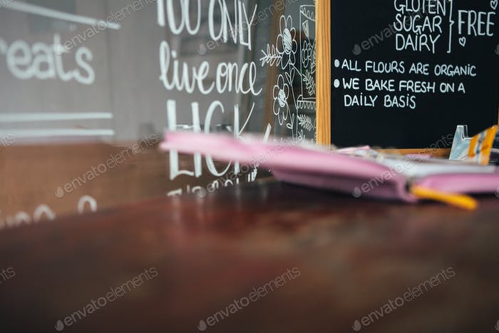 View on blackboard with handwriting in cafe