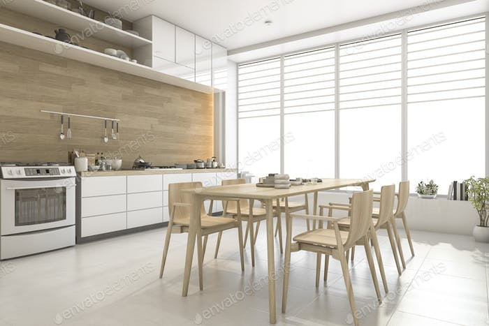 3d rendering white scandinavian style wood kitchen and dining room