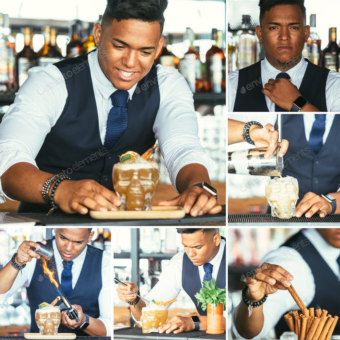 Expert bartender prepares cocktail collage