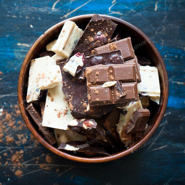 Verschiedene Sorten von Schokolade.