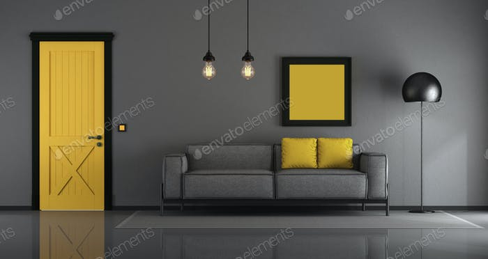 Yellow and gray minimalist living room