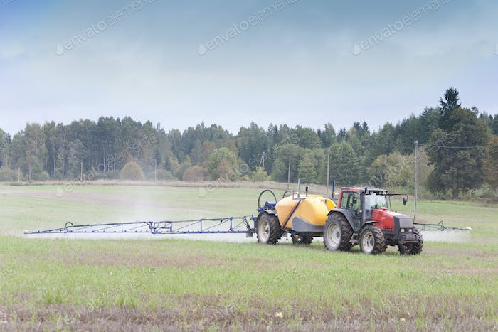 Tractor Spraying Herbicide