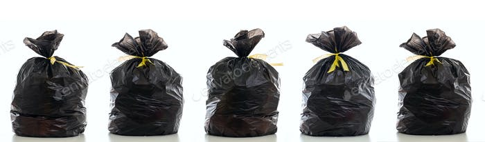 Trash, black garbage bag full and tied isolated against white background