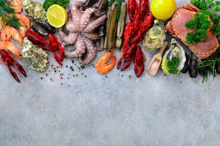 Seafood background - fresh mussels, molluscs, oysters, octopus, razor shells, shrimps, crab