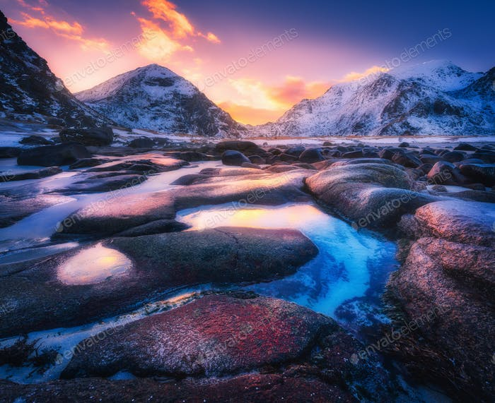 Colorful sunset in Utakleiv beach, Lofoten islands, Norway