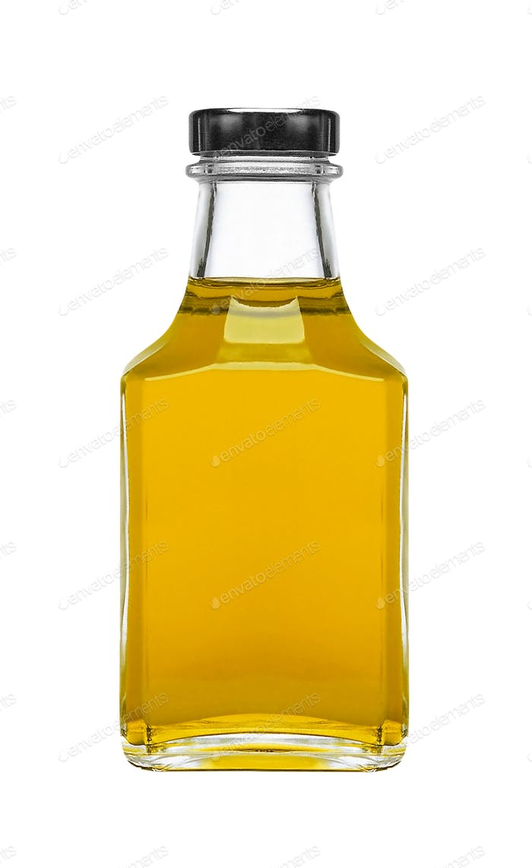 Olivenöl quadratische Flasche isoliert auf weißem Hintergrund