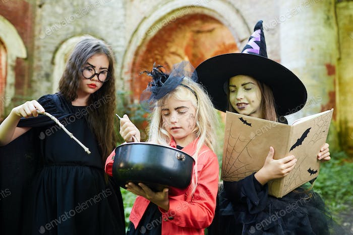 Little Witches making Potion