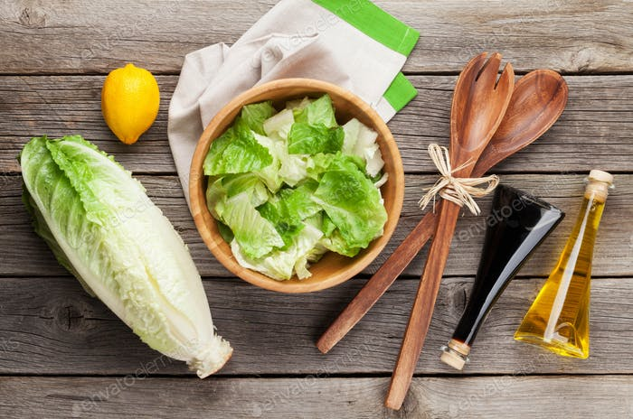 Fresh healthy romaine lettuce salad