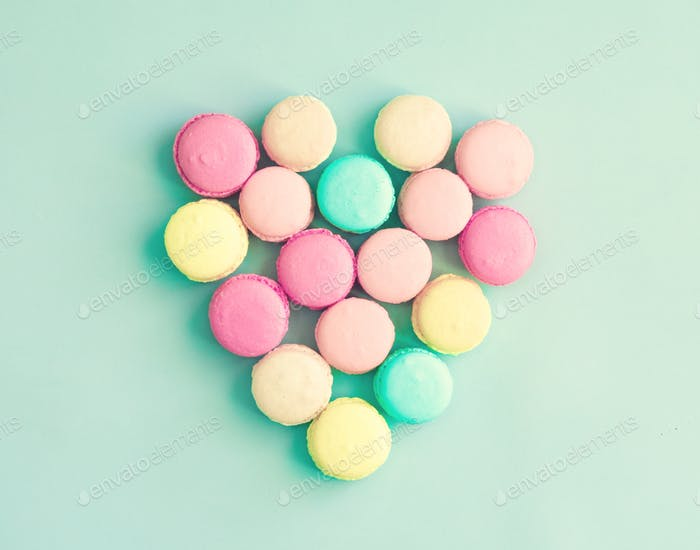Pastel French macaroons