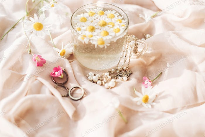 Daisy flowers in water in glass cup