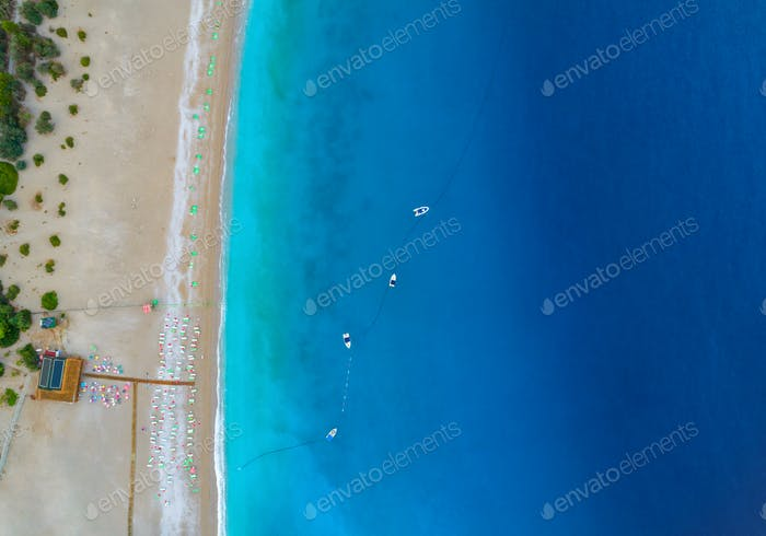 Aerial view of boats in mediterranean sea in Oludeniz,Turkey