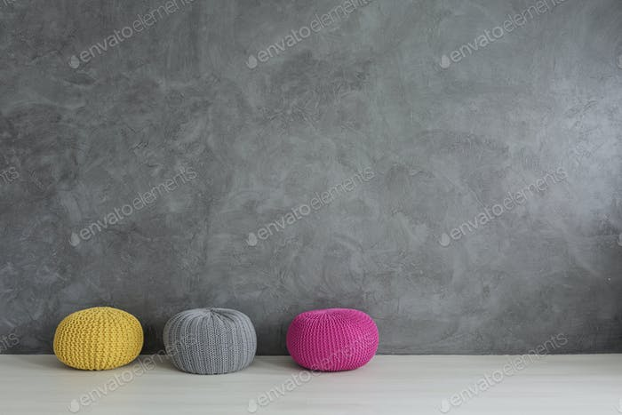 Colorful wool pouf