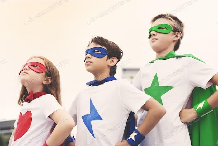 Superhero Boy Girl Brave Imagination Concept
