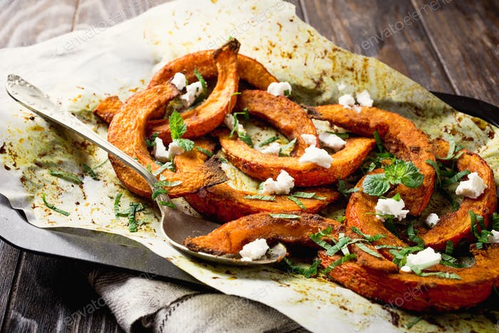 Roasted pumpkin with addition aromatic herbs