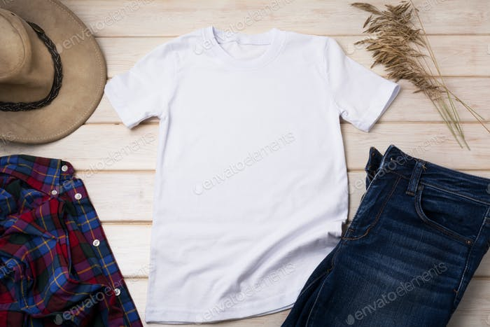 Men's T-shirt mockup with cowboy hat