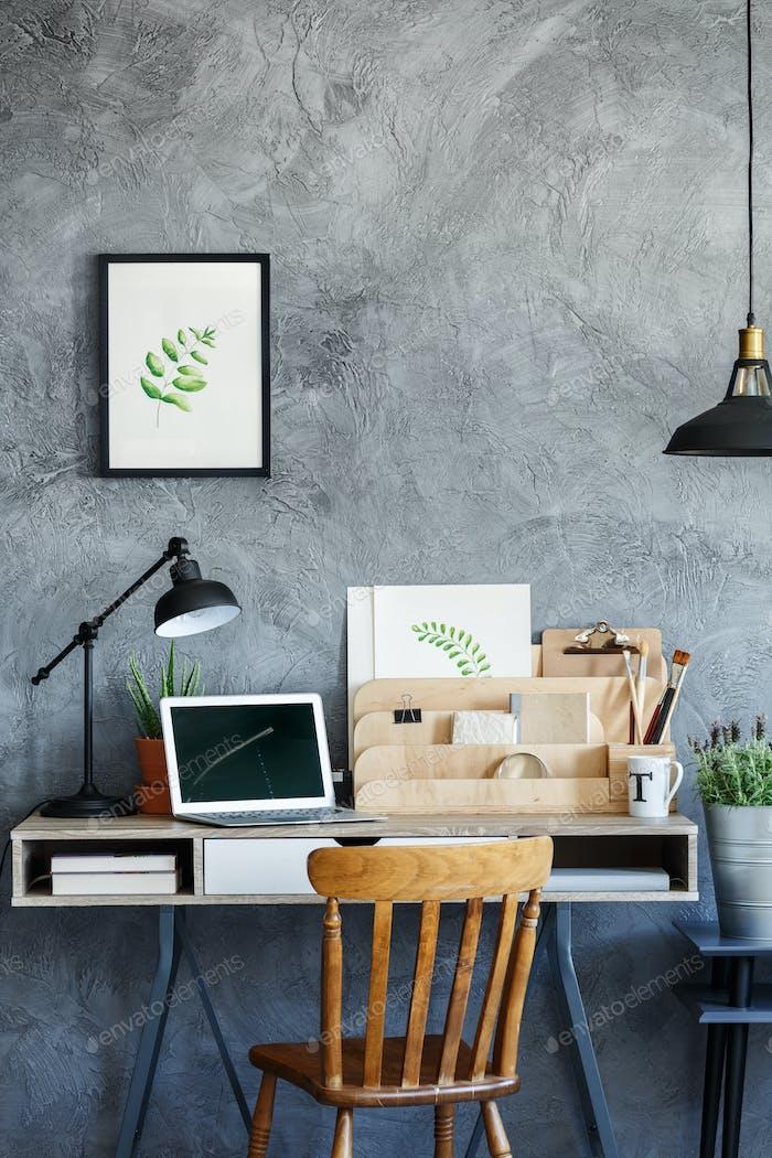 Retro desk with vintage decor