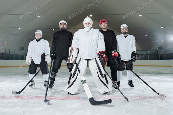 Professional hockey players and their trainer in sports uniform and skates
