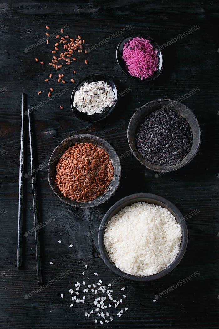 Vielfalt von bunten Reis