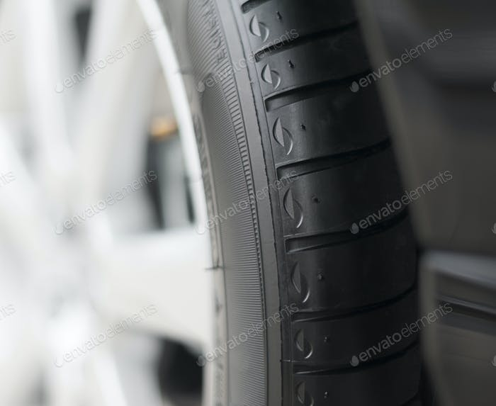 Detail of  black  tire. Shallow dof