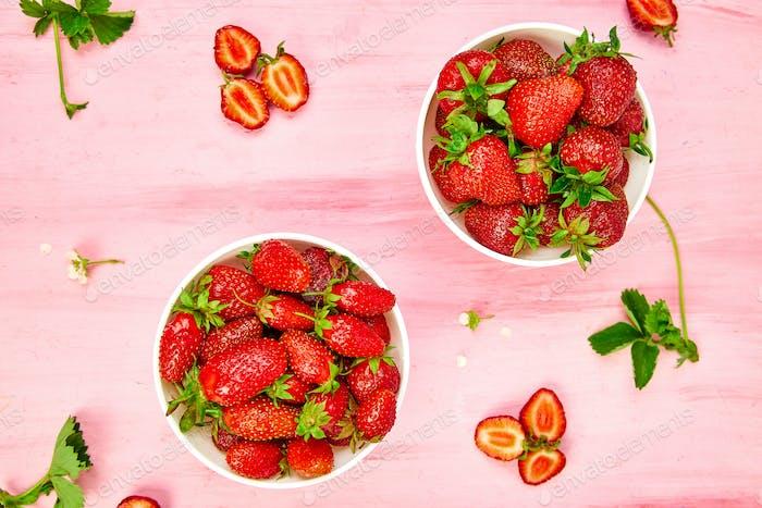 Strawberries in white bowl. Fresh strawberries. Beautiful strawberries.