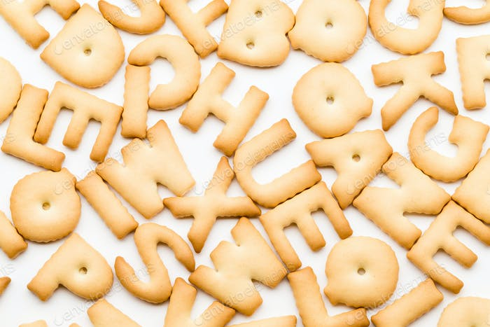 Pile of letter biscuit